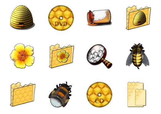 Bee Kingdom series of computer PNG icons 128x128px