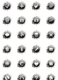 Black Crystal circular pattern button icons 128x128PNG icon 128x128px