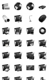Black System PNG icons 128x128px
