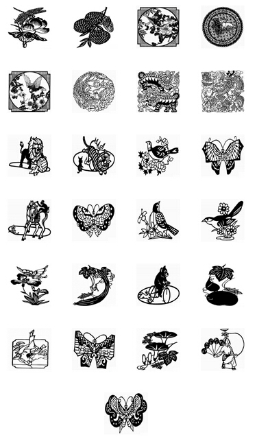 Black and white Chinese paper cut art PNG icons 128x128px