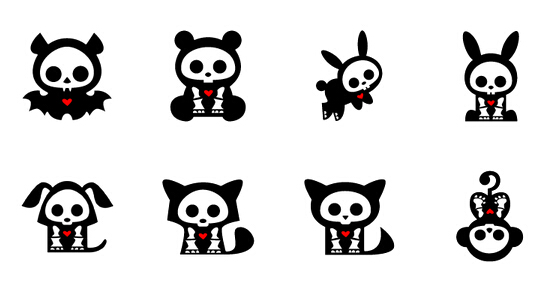 Black small animal skull style icon PNG 128x128px