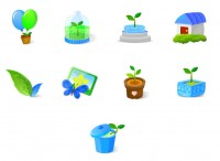 Blue cartoon style icon plant PNG 128x128px