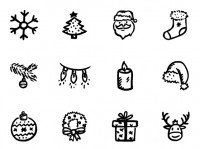 Christmas icons hand painted black and white PNG 128x128px