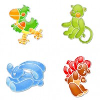 Crystal style four small animals PNG icons 256x256px