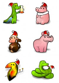 Cute Animal Christmas PNG icon 256x256px