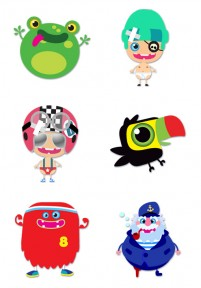 Cute cartoon characters and animals PNG icons 256x256px