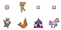 Cute circus members PNG icons 128x128px