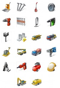 Exquisite engineering equipment PNG icons 128x128px