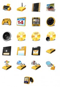 Gold colored computer hardware PNG icon 128x128px