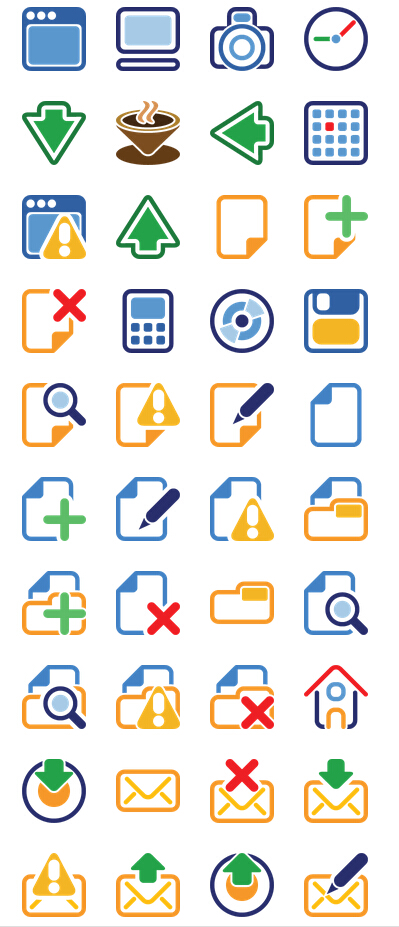 Minimalist four color PNG icons 128x128px