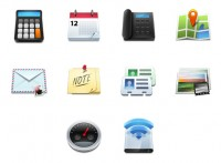 Phone and Map PNG icons 128x128px