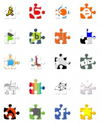 Puzzle style bookmarking PNG icons 128x128px
