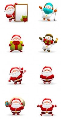 Santa Claus and snowman PNG icons 256x256px