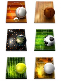 Seven kinds of pitches and the ball PNG icons 256x256px