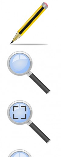 Simple pencil magnifying glass and clock PNG icons 512x512px