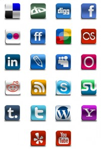 Three dimensional social bookmarking PNG icons 128x128px