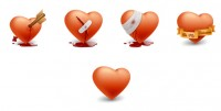 Valentine s Day five delicate hearts PNG icons 128x128px