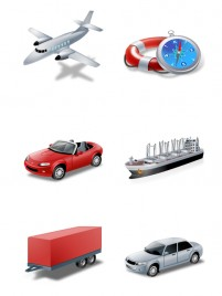 Various modes of transport PNG icons 256x256px