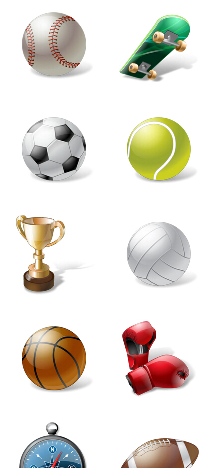 Various sports equipment PNG Icon 256x256px