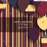 Balloon decoration birthday greeting card vector
