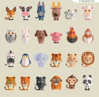 Flat animal icon material
