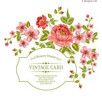 Floral card design vector