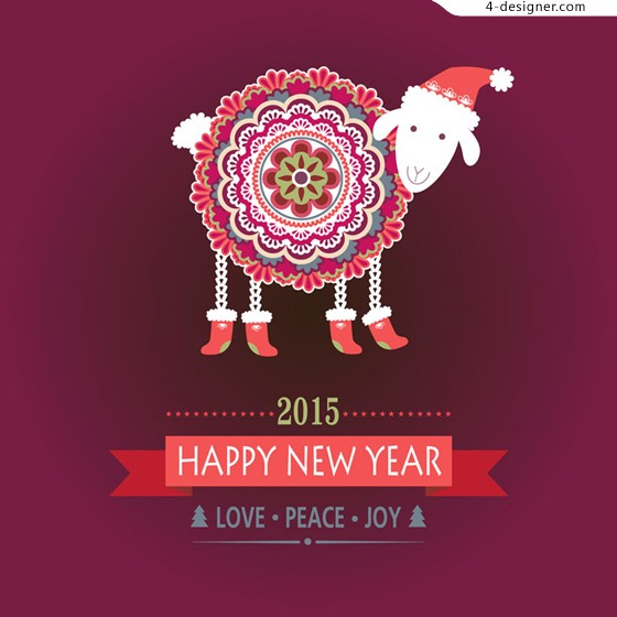 Happy Year of the Ram vector