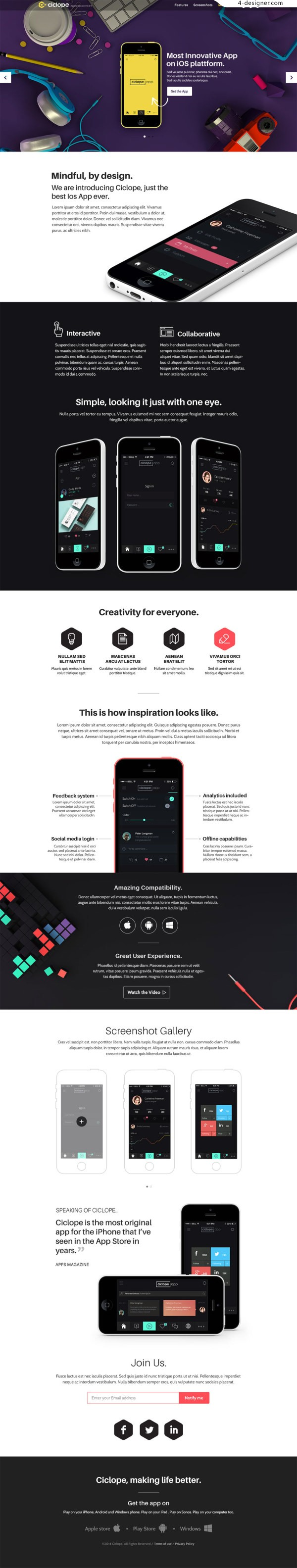 Interaction design high quality mobile phone display template page