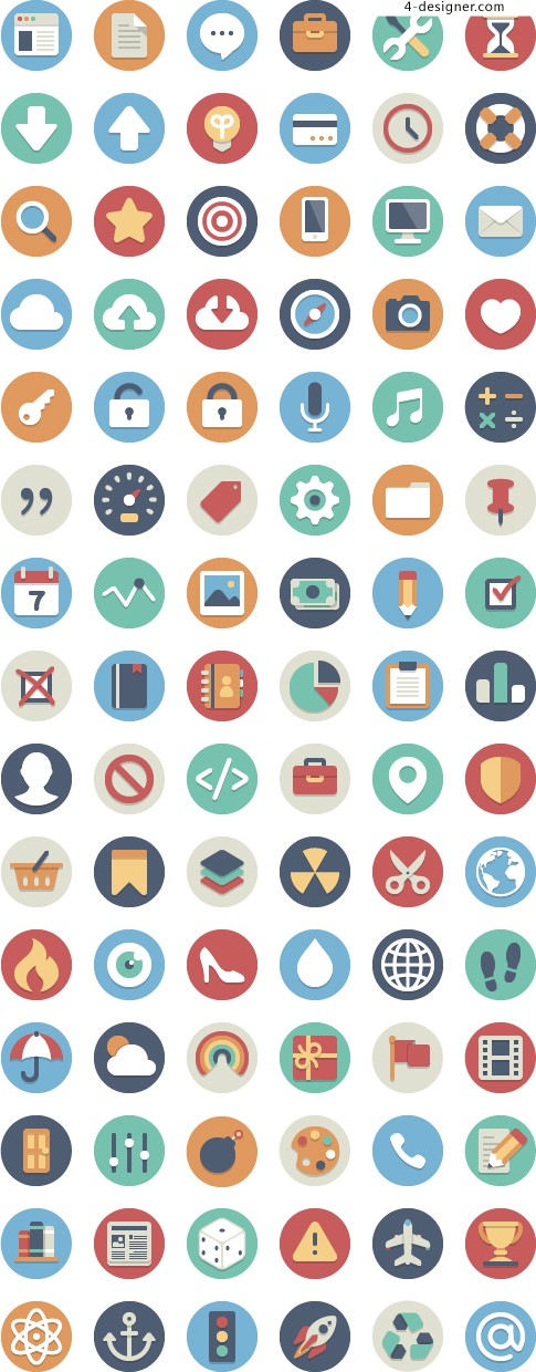 Mobile APP round flat color icon design material collection a