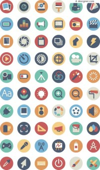 Mobile APP round flat color icon design material collection three