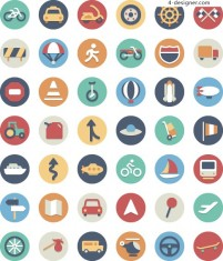Mobile APP round flat color icon design material collection two