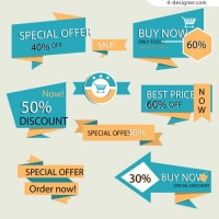 Origami discount label vector material