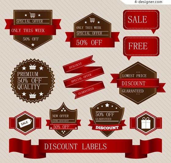 Red promotional label vector material