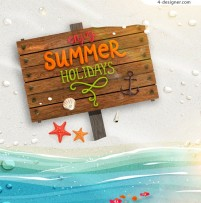 Summer vacation wooden sign vector background
