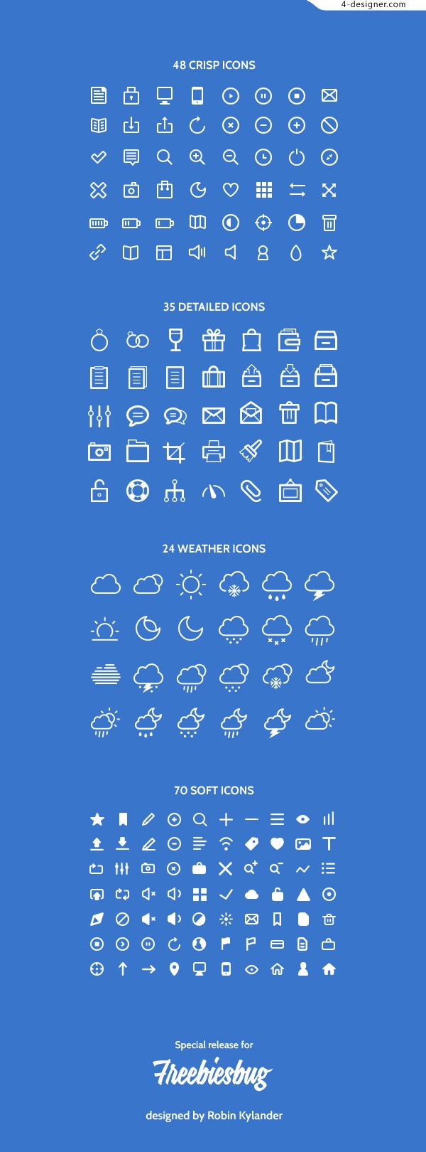 Thin line of simple icons
