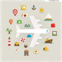 Travel theme element vector material