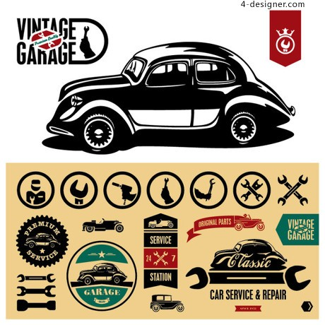 Vintage car stickers vector