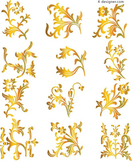 Gold translucent pattern patterns vector material