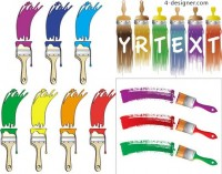 Different colors of paint brush vector material