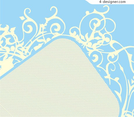Light blue background yellow pattern border vector material