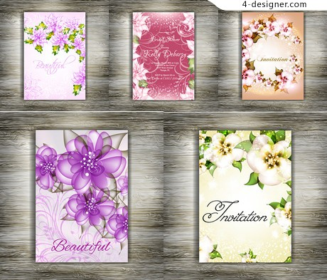 Beautiful floral wedding invitations vector material