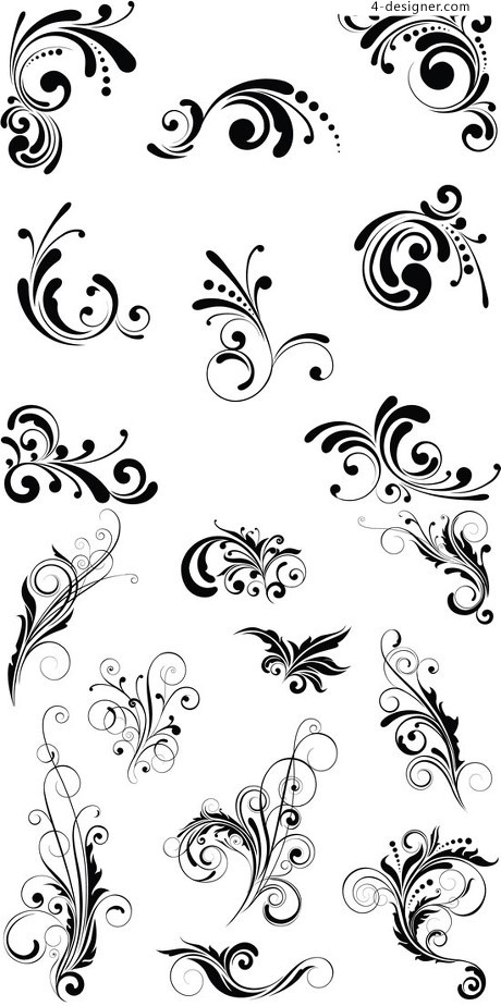 Black plant patterns pattern vector material
