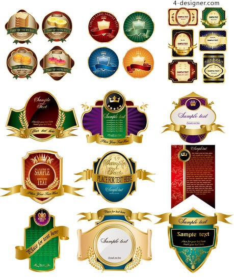 Variety of European style label vector ornate label