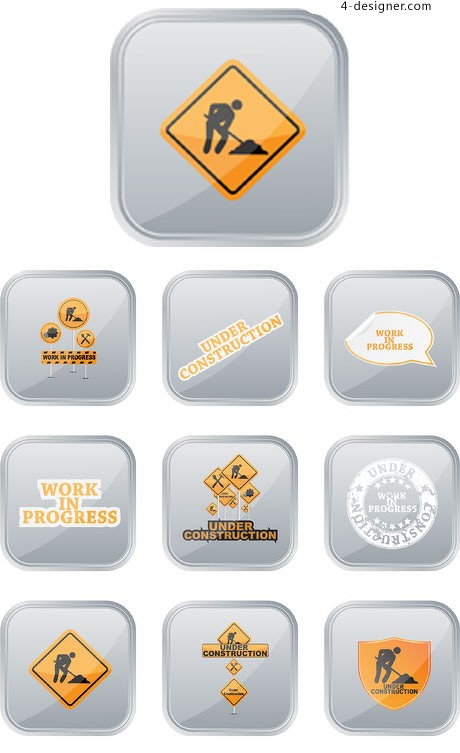 Road construction signs vector material