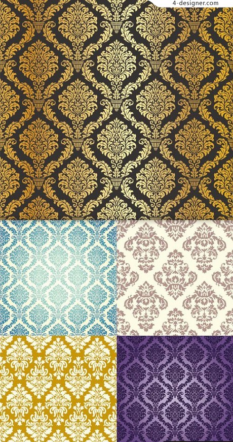 Several classical pattern wallpaper vector material