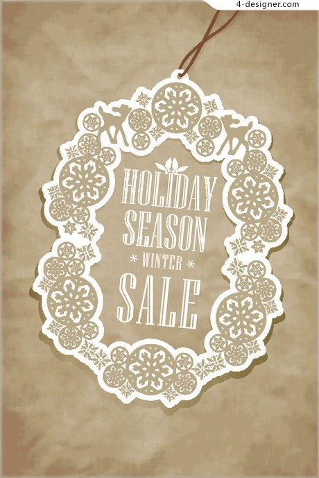 Vintage Christmas tags vector material 03