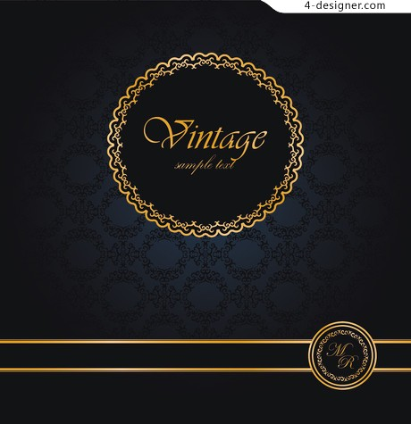 4 Designer Elegant Retro Invitation Card Design Material 03