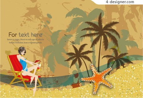 Beautifully surfing postcard vector