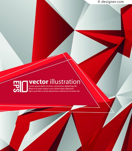 Red and white geometric background vector
