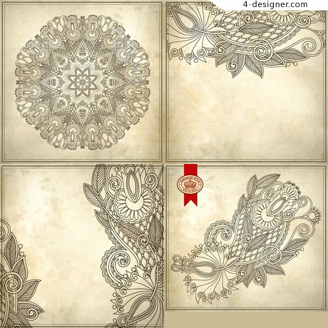 Hand painted pattern background vector material